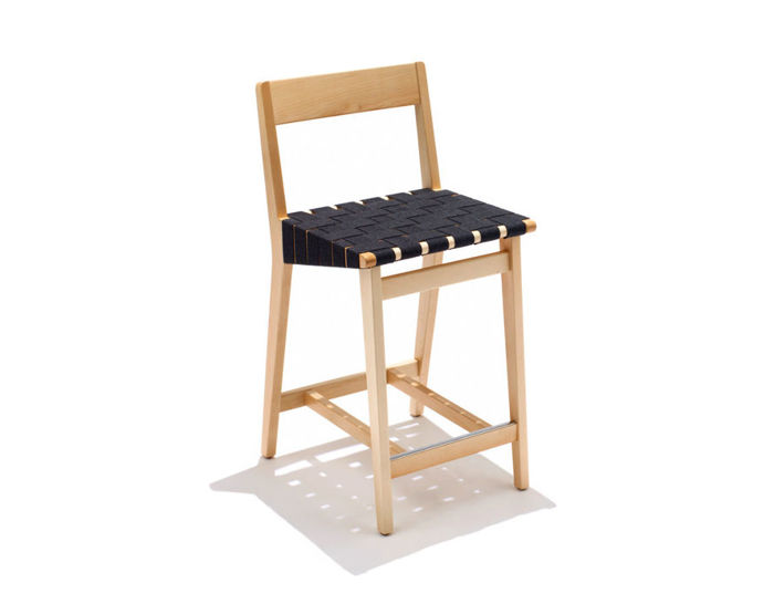 risom stool with wood back