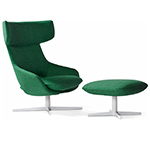 kalm swivel metal base lounge chair & ottoman  -