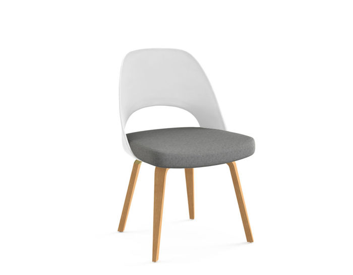 saarinen plastic back side chair with wood legs