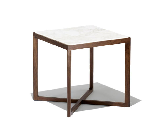 krusin square end table with walnut base