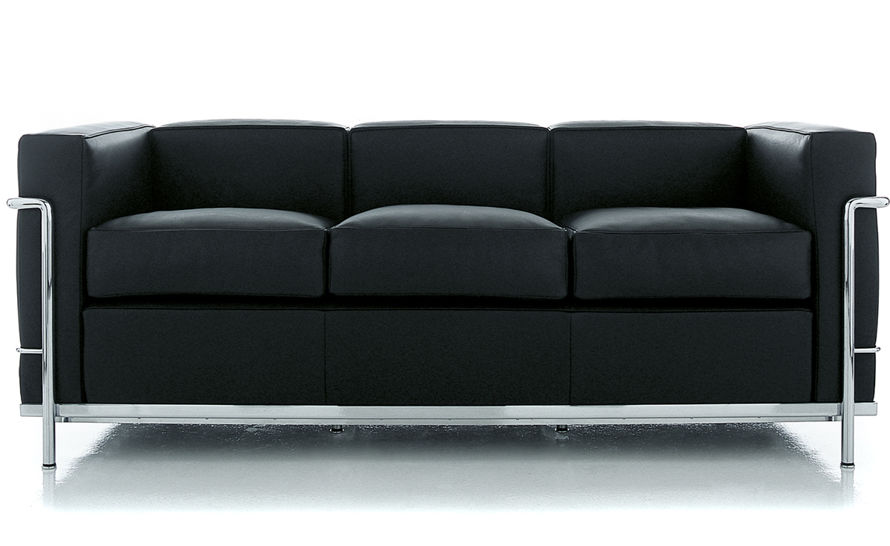 le corbusier lc2 3 seat sofa. Black Bedroom Furniture Sets. Home Design Ideas