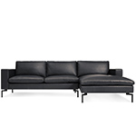 new standard leather sofa with chaise  - blu dot