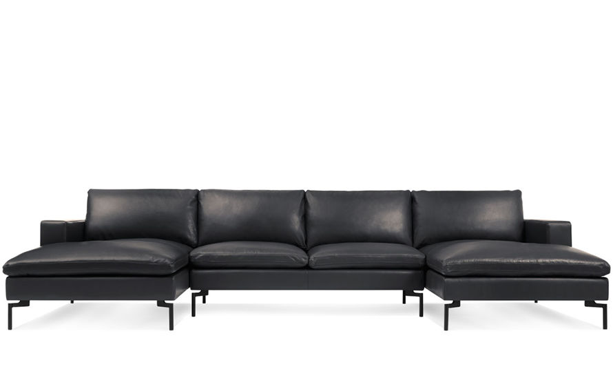 New Standard U Shaped Leather Sectional Sofa