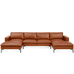 new standard u shaped leather sectional sofa  -