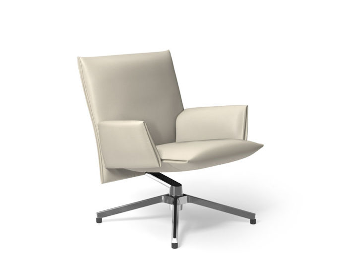 pilot low back lounge chair with upholstered arms