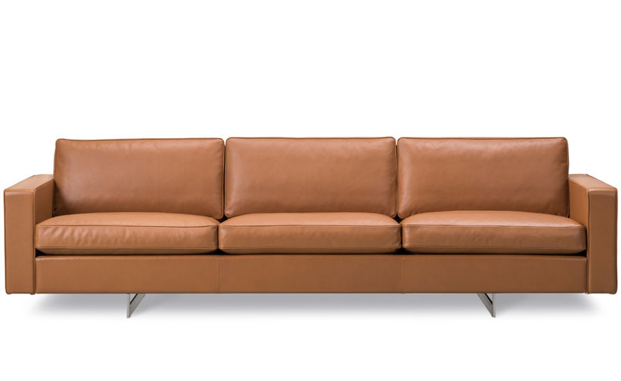 risom 65 three seat sofa with metal base
