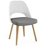 saarinen plastic back side chair with wood legs  -