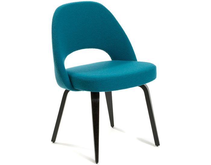Knoll Eero Saarinen Executive Side Chair Wood Legs on teal swivel chair