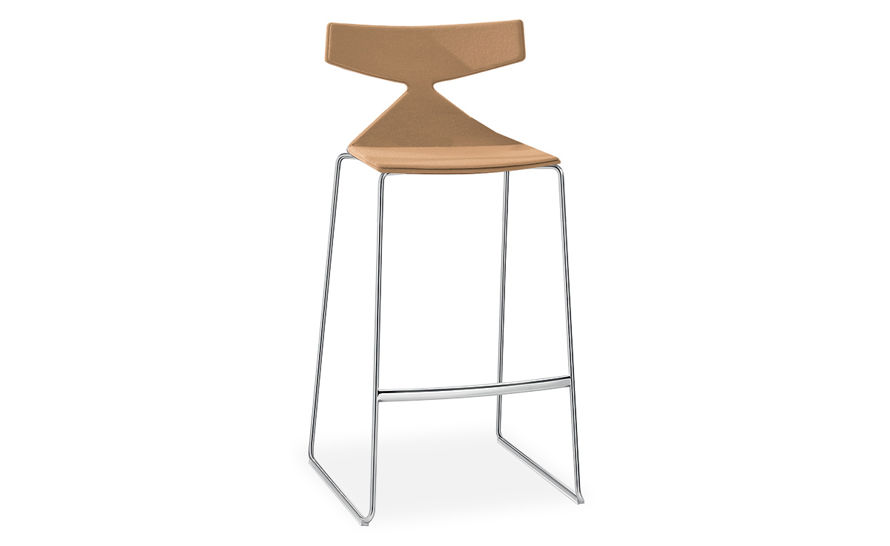 saya sled base stool with full upholstery