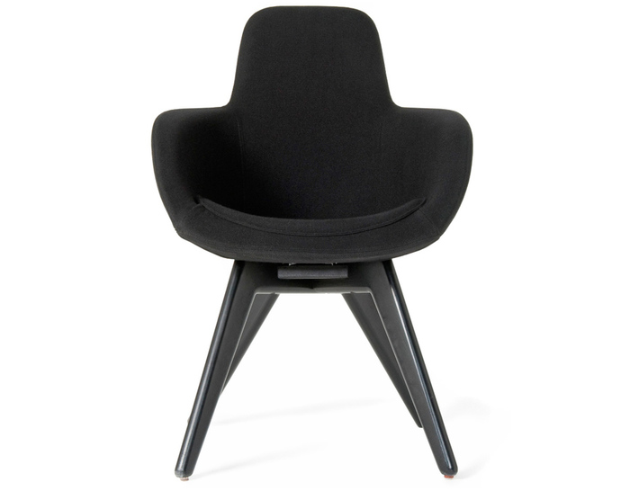 scoop high back chair with wood legs
