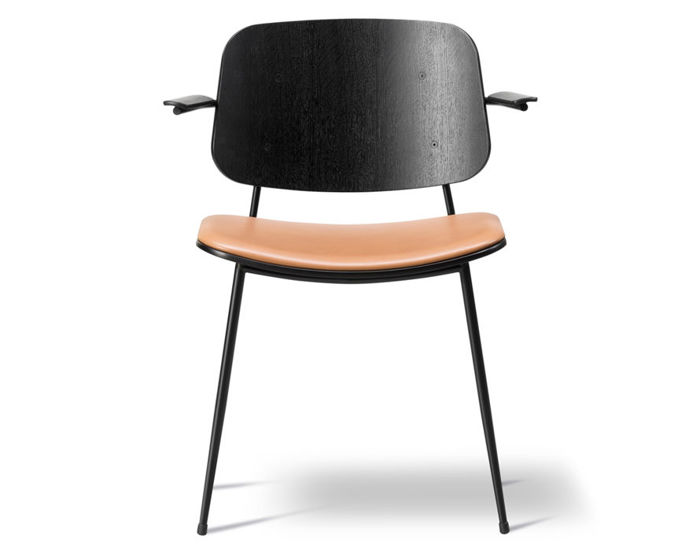 soborg upholstered seat armchair with steel base