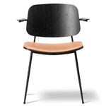 soborg upholstered seat armchair with steel base - Borge Mogensen - Fredericia
