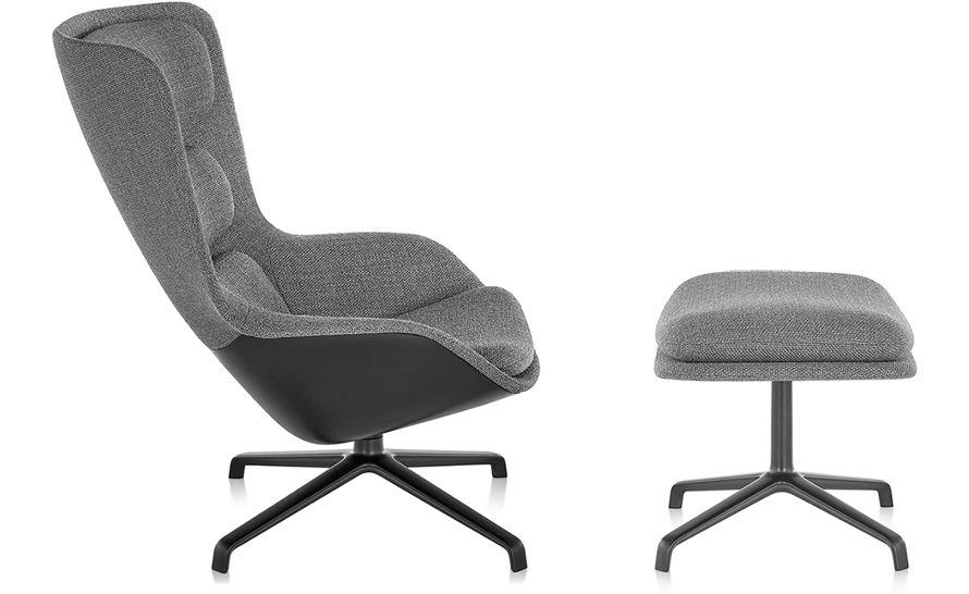 Striad™ High Back Lounge Chair & Ottoman With 4 Star Base hivemodern