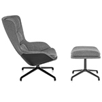 striad™ high back lounge chair & ottoman with 4 star base  -