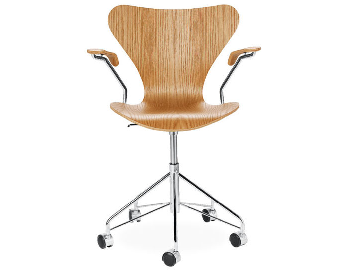 swivel arm chair wood veneer