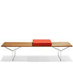bertoia bench with 3 seat cushions  -