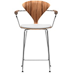 cherner metal leg stool with arms & upholstered seat - Norman Cherner - cherner