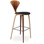 cherner wood leg stool with upholstered seat - Norman Cherner - cherner