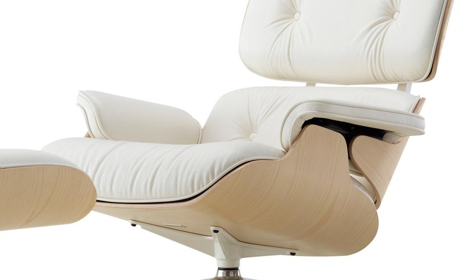 White Ash Eames Lounge Chair & Ottoman hivemodern
