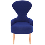 wingback dining chair with copper legs  -