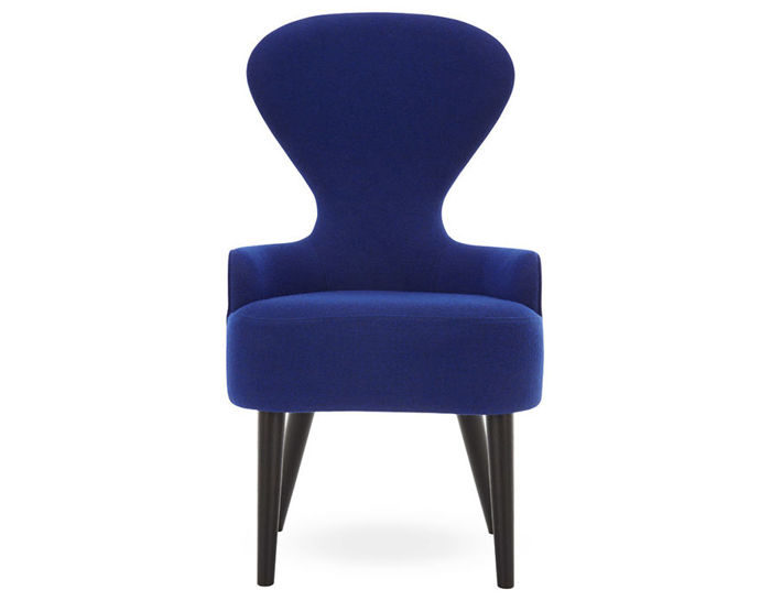 wingback dining chair with wood legs