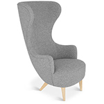 wingback lounge chair with wood legs  -