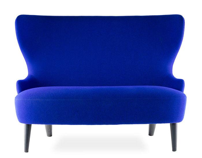 wingback micro sofa with wood legs