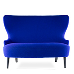 wingback micro sofa with wood legs  -